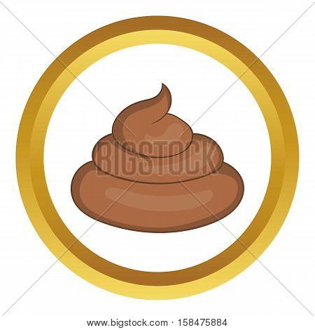 Piece of turd vector icon in golden circle, cartoon style isolated on white background
