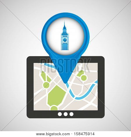 mobile device big ben gps map vector illustration eps 10