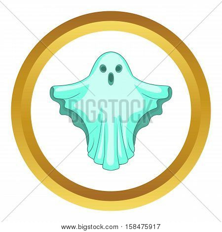Ghost vector icon in golden circle, cartoon style isolated on white background