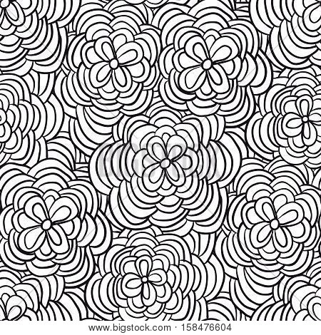 Vector monochrome seamless pattern of hand drawn black doodle flowers.