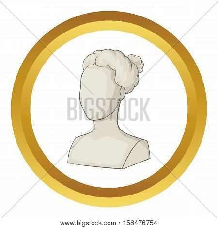 Sculpture head of woman vector icon in golden circle, cartoon style isolated on white background