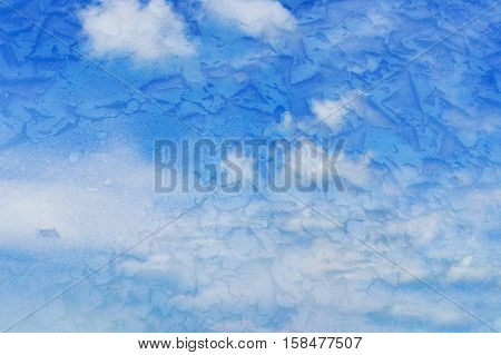 Vivid blue sky with scatter cloud overlap with dry earth