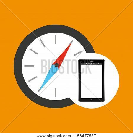 compass mobile phone navigation vector illustration eps 10