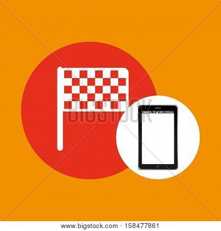 flag mobile phone navigation vector illustration eps 10