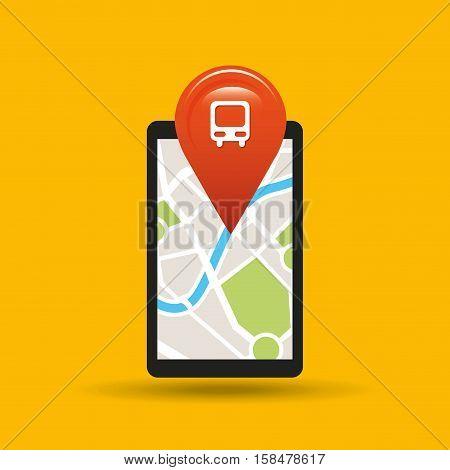 hand holds phone navigation app train station vector illustration eps 10