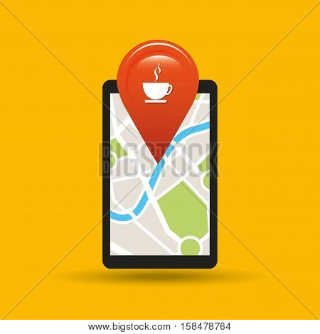 hand holds phone navigation app coffee shop vector illustration eps 10