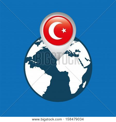 world map with pointer flag turkey vector illustration eps 10