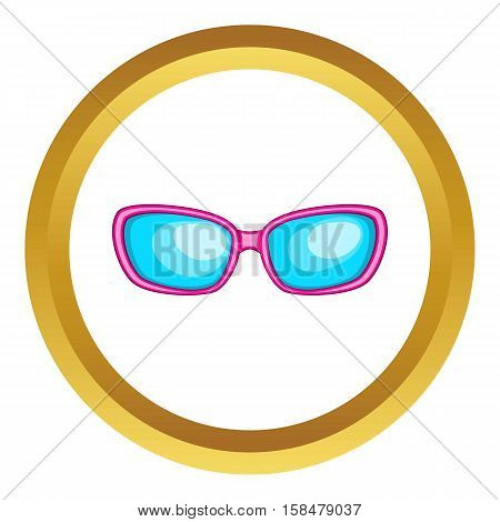 Sunglasses vector icon in golden circle, cartoon style isolated on white background