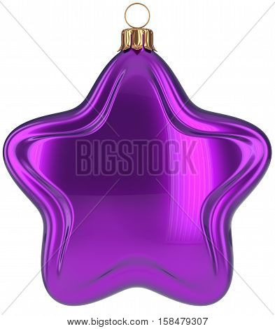 Purple Christmas ball star shaped decoration Merry Xmas hanging adornment New Years Eve bauble. Happy wintertime holidays greeting card design element traditional decor ornament blank. 3d illustration