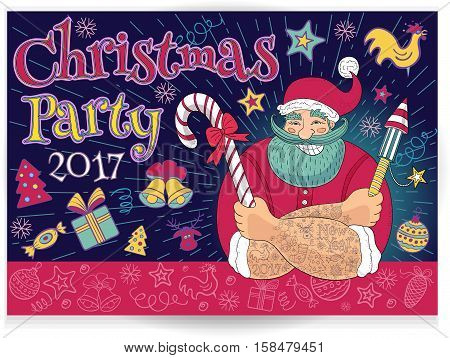 New Year in sketch style. Hipster tattooed Santa Claus. Christmas party, Funny cartoon, character, candy, firecracker, fireworks. Hand drawn vector illustration.