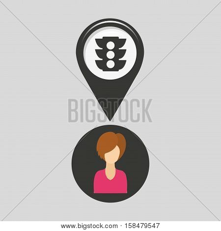 light traffic pointer map girl design icon vector illustration