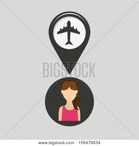 airport pointer map girl design icon vector illustration