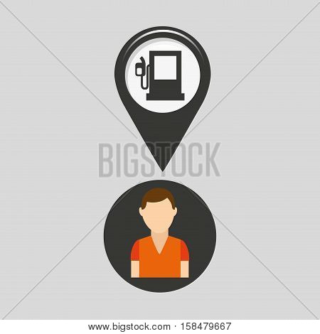 gas station pin location man design vector illustration eps 10