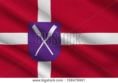 Flag of Samso in Central Jutland Region in Denmark. 3d illustration