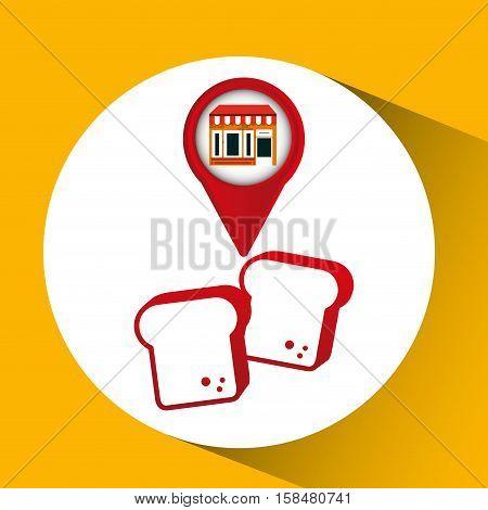 mobile phone bread shop locater vector illustration eps 10
