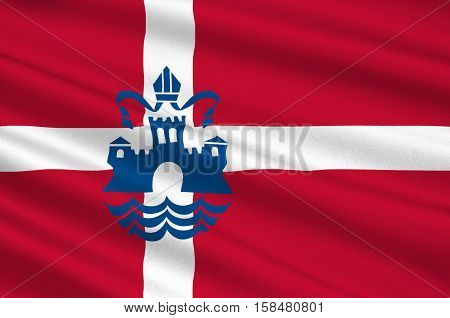 Flag of Silkeborg in Central Jutland Region in Denmark. 3d illustration
