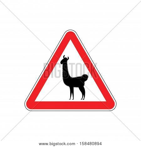 Lama Warning Sign Red. Llama Hazard Attention Symbol. Danger Road Sign Triangle Animal
