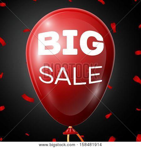 Big Sale on Red Baloon over black background. Vector illustration