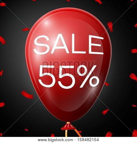 Red Balloon with 55 percent discounts over black background. Vector illustration