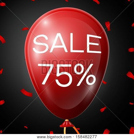Red Balloon with 75 percent discounts over black background. Vector illustration