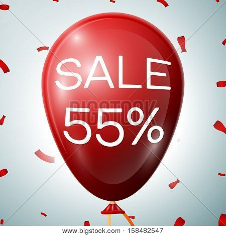 Red Balloon with 55 percent discounts. SALE concept for shops store market, web and other commerce. Vector illustration.