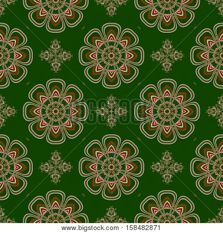 Christmas seamless pattern. Green red and white colors. You can use it for invitations gift packaging wrapping paper holiday decor postcards.