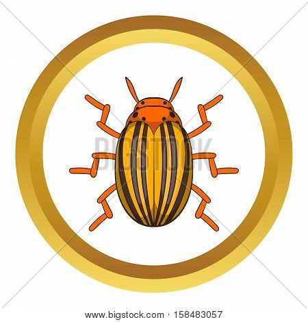 Colorado potato beetle vector icon in golden circle, cartoon style isolated on white background