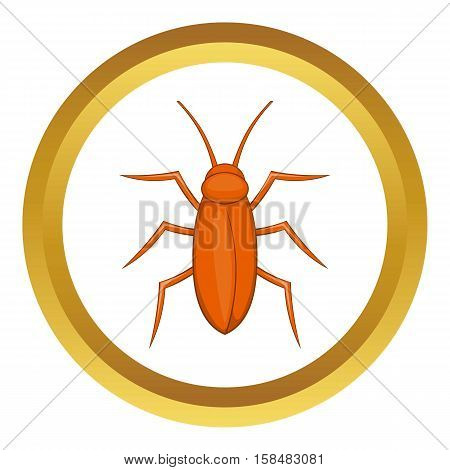 Cockroach vector icon in golden circle, cartoon style isolated on white background