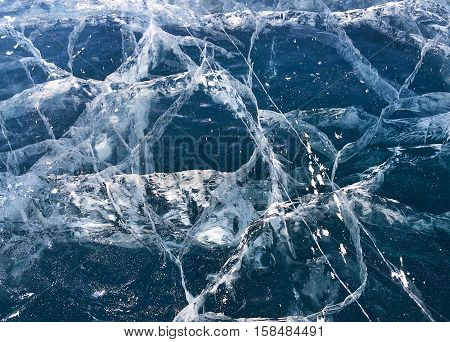 Texture of icy surface of Lake Baikal in winter