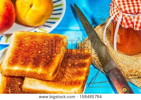 Homemade peach jam with your toast for breakfast