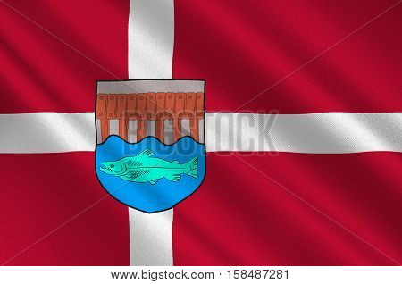 Flag of Skive in Central Jutland Region in Denmark. 3d illustration
