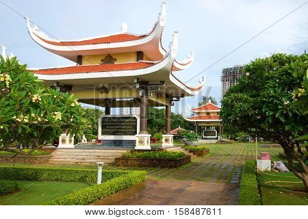 VUNG TAU, VIETNAM - DECEMBER 21, 2015: Two gazebos with quotations from the writings of Vietnam's first President Ho Chi Minh at the memorial in his honor. The historical landmark of the city Vung Tau