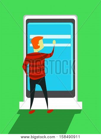 Vector Illustration of a Man using Interactive Screen