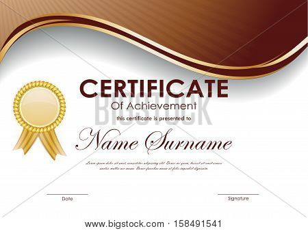 Certificate of achievement template with brown wavy background and gold label. Vector illustration