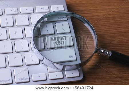 Computer keyboard with BUDGET 2017 button .
