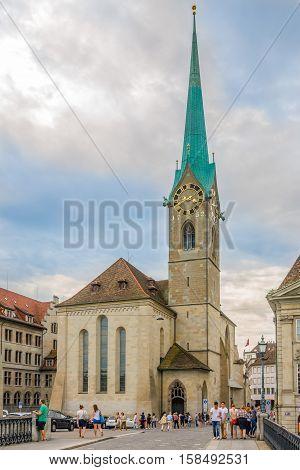 ZURICH,SWITZERLAND - SEPTEMBER 3,2016 - View at the Fraumunster church in Zurich. Zurich is the largest city in Switzerland.