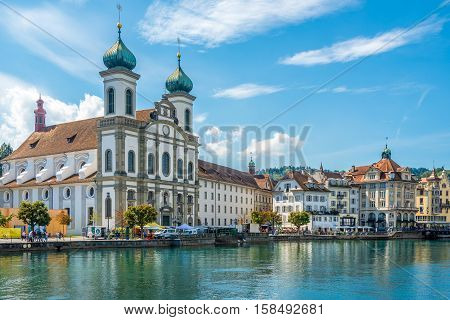 LUZERN,SWITZERLAND - SEPTEMBER 3,2016 - View at the Jesuit church in Luzern. Luzern is a city in central Switzerland.