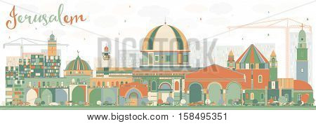 Abstract Jerusalem Skyline with Color Buildings. Vector Illustration. Business Travel and Tourism Concept with Historic Architecture. Image for Presentation Banner Placard and Web Site.