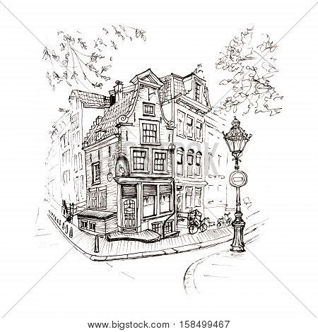 Black and white hand drawing, city view of Amsterdam typical house with stork and lantern, Holland, Netherlands. Picture made liner