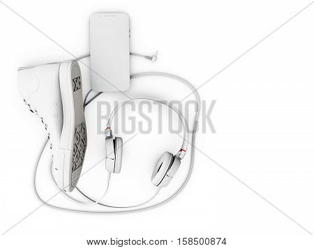 3D Illustration Of Top View Of Headphones, Shoe And Phone On White Background