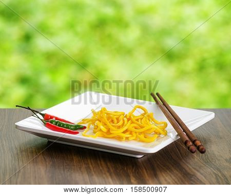 Egg Noodles On Nature Background