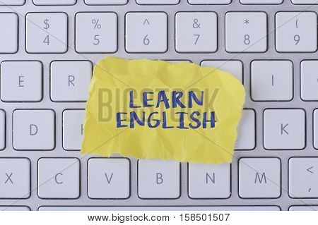 Learn english./ Learn english card with information on the keyboard