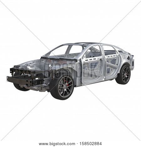 Skeleton of a car on white background. 3D illustration