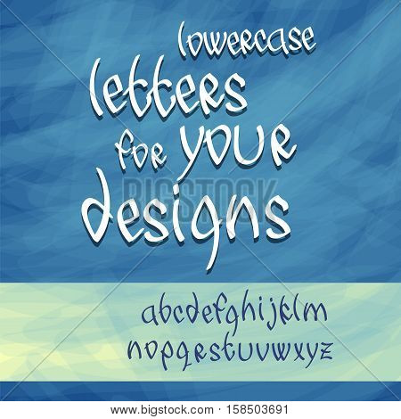 English alphabet letters. Lowercase typeface. Caligraphy font. Vector illustration. Hand drawn lettering.