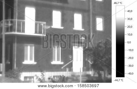 Thermal image photo building, windows, door, gray scale