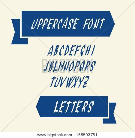 Uppercase english alphabet letters. Handwritten font character symbols. Vector illustration.