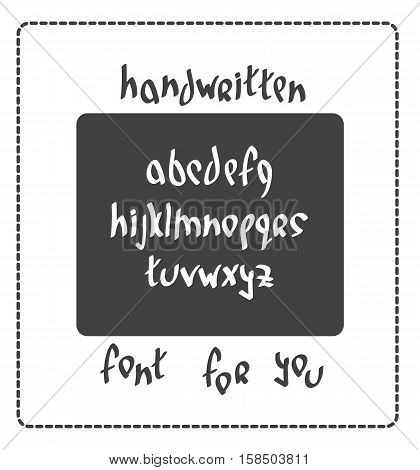 Hand written font lowercase english alphabet letters for creative design. Hand drawn symbols. Vector illustration.
