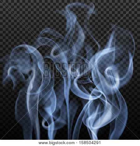 Realistic abstract image with slate grey colour blurry vibrant smoke shapes on dark transparent background vector illustration