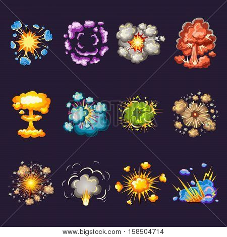 Comic explosions decorative icons set with blast waves circles of smoke on black background isolated vector illustration