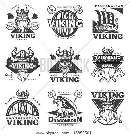 Black isolated vintage viking label set with north guardian Viking authentic martial dragonborn authentic descriptions vector illustration